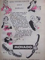 PUBLICITÉ DE PRESSE 1954 MONTRES MOVADO POUR DAMES - ADVERTISING