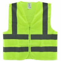 Mesh High Visibility Neon Green Zipper Front Safety Vest with  Strips XXXL