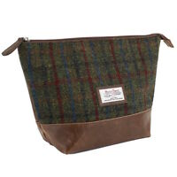 Harris Tweed Green and Red Tartan Ladies or Gent's Wash Bag Gift Boxed