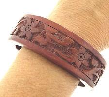 """Carved Floral Wood Bangle Bracelet  8"""""""