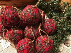 10 Primitive RED TARTAN PLAID Fabric RAG BALLS Christmas Ornaments Farmhouse A12