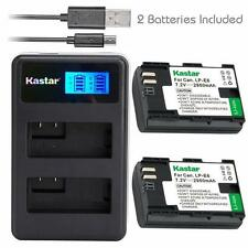LPE6 Battery&LCD DUAL Charger for Canon EOS 6D,7D,7D Mark II,60D, 60Da, 70D,XC10