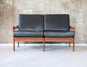 Vintage 60er Illum Wikkelso Ledersofa N. Eilersen Mid-Century 60s Leather Sofa