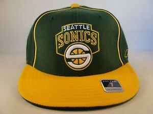 Seattle Supersonics NBA Reebok Fitted Hat Cap Size 7 Green Gold