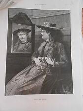 Gravure 1890 - Avant la Messe - femme qui se regarde