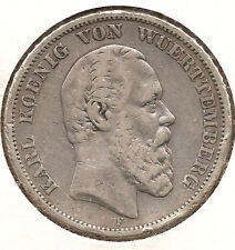 German Wurttemberg 0.900 Silver coin Crown 1875 5 Mark