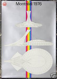 Original Vintage Poster Montreal Canada Summer Olympics 1976 Stadium Architectur