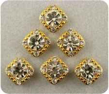 2 Hole Beads Crystal GALA 8mm Clear Swarovski Elements ~ GOLD ~ Sliders QTY 6