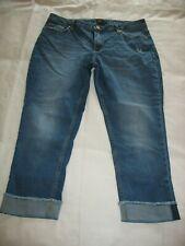 Lee Riders Boyfriend Crop Blue Jeans Sz 16 M Cut Off Cuffs Distressed Womens