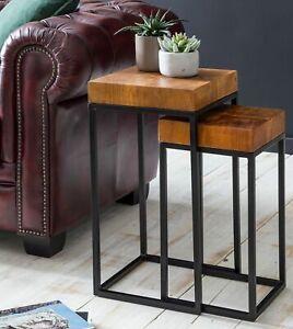 WOHNLING 2er Set Beistelltisch Sheesham Holz Metall Wohnzimmer Tisch Couchtisch