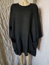 "Quirky HEBBEDING art to wear black linen dress tunic OSFA XL-2XL-3XL, pits- 62"""