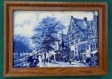 DELFT BLUE FRAMED 6 TILE TABLEAU WITH SCENE OF OLD CITY IN HOLLAND VINTAGE