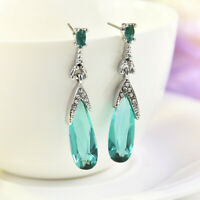 Women 925 Silver Aquamarine Fashion Dangle Drop Earrings Anniversary Jewelry