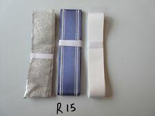 R15 Job Lot 3 Ribbons, Silver Colour, White & Blue