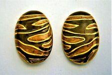 J745*) Vintage brown gold enamel gold tone tiger striped stud earrings