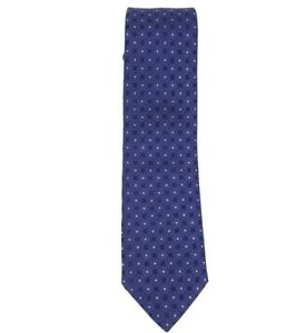 Men's Brioni Blue Grey Print 100% Silk Tie NWTS