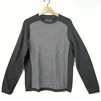 EDDIE BAUER Mens Sweater Medium Pullover 2 Tone Gray Cotton Wool Blend Crewneck