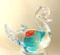 Beautiful Blue MURANO Art Blown Glass Duck Swan Bird Made in Italy NEW