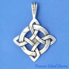 CELTIC GOOD LUCK ENDLESS KNOT .925 Solid Sterling Silver Pendant MADE IN USA