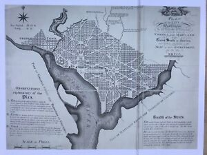 "Antique vintage historical map, plan 1700s: Washington, USA 12 X 9"" Reprint 1792"