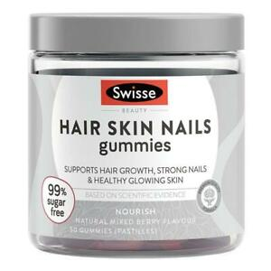 New Swisse Beauty Hair Skin Nails 50 Gummies Mixed Berry Flavour HSN