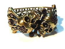 Bijou  alliage bronzé bracelet manchette têtes de mort cristal bangle