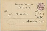 """DT.REICH """"PIRNA"""" (Sachsen) K1 a. 5 Pfennig GA-Postkarte (m privater Zudruck)!!!"""