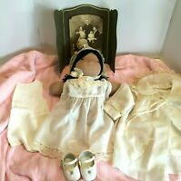 Vintage Christening Gown 5 pc. Outfit Baby Girl Coat Dress Slip Cap Shoes 1950s
