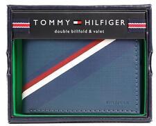 NEW TOMMY HILFIGER MEN'S LEATHER DOUBLE BILLFOLD ID WALLET BLUE GREY 31TL130012
