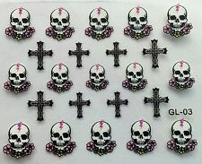 Nail Art 3D Decal Stickers Halloween Skull Flowers Cross GL03