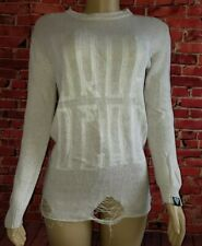 Drop Dead Clothing Ivory Beige Sweater Size Medium Distressed Long Sleeve Top