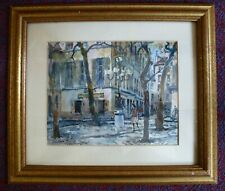 Vintage Watercolour Painting Expressionist Paris  French City Square scene 50s