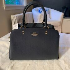 New Coach Bag 91493 Navy Blue Crossgrain Leather Lillie Carryall Satchel Handbag