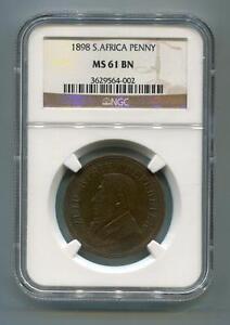 South Africa ZAR NGC Graded 1898 Kruger Penny MS 61 BN