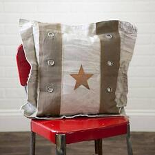 Country new western canvas/leather STAR flanged decor pillow / nice