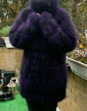 New Hand Knitted Thick Chunky Black/Purple Mohair Sweater   L  44""