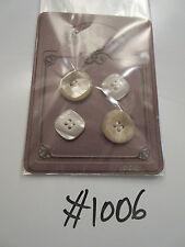 #1006 Lote de 4 Crema/Marrón Surtido Botones efecto mármol Vintage