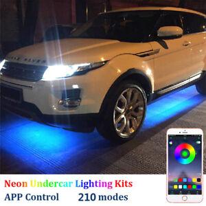 4Pcs LED Strip Under Car Tube Underglow Neon Light Kit Phone APP Sound  Control