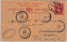 MALTA - POSTAL STATIONERY CARD to ZANIA CRETE forwarded to HERAKLION 1906