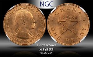 1958 GHANA 1 PENNY ELIZABETH II NGC MS65RB FINEST KNOWN #