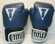 Title Boxing Gloves 14 oz Blue Hit It Hard Good Condition Usa