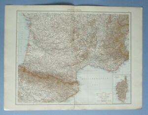 """1895 The Times Full Colour Map France (South) Include Corsica, Andorra 16"""" x 22"""""""