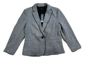 NWT $169 Ann Taylor Petite Black White Long Sleeve Suit Blazer Jacket Size 12P