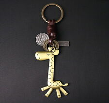 AuPra Leather Funny Giraffe Keyring Gift Animal Key Chain Ring Present