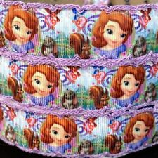 "Grosgrain Ribbon 1"" Princess Sofia with Crochet Printed USA SELLER"