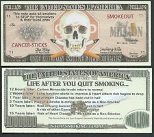 Stop Smoking Skull Million Dollar Bill Collectible Fake Funny Money Novelty Note
