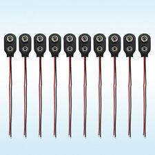 10pcs PP3 MN1604 9V 9volt Battery Holder Clip Snap On Connector Cable Lead Black