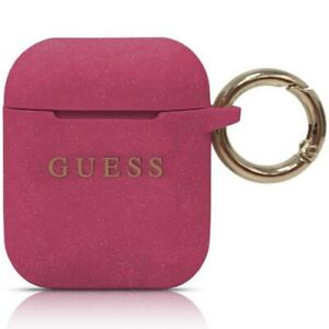 GUESS AIR POD SILICONE CASE COVER PRINTED LOGO WITH RING FOR AIRPODS  1/2