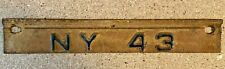 1943 New York State NY License Plate Tab Only