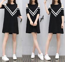 3XL Korean Womens Off Shoulder Loose A Line Summer Cocktail Party Dress Shirt